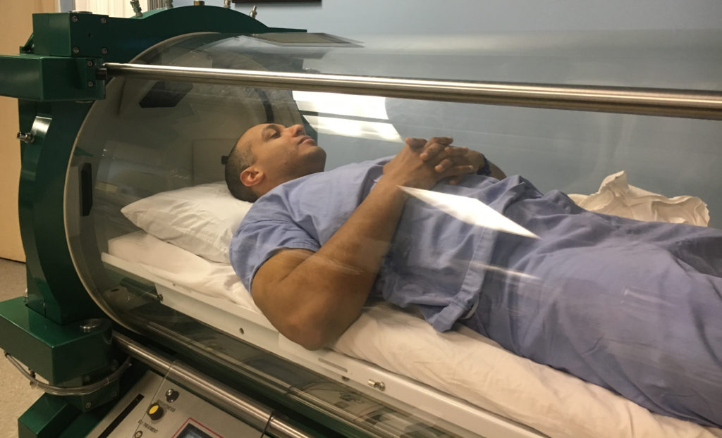 John Giordano - MMA Fighter - Getting a Hyperbaric Oxygen Treatement